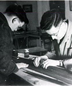 ELMRC OO layout - tracklaying c1953 - Don Rowland [left], Jimmy Syme [right].   [Photo courtesy of Don Rowland]